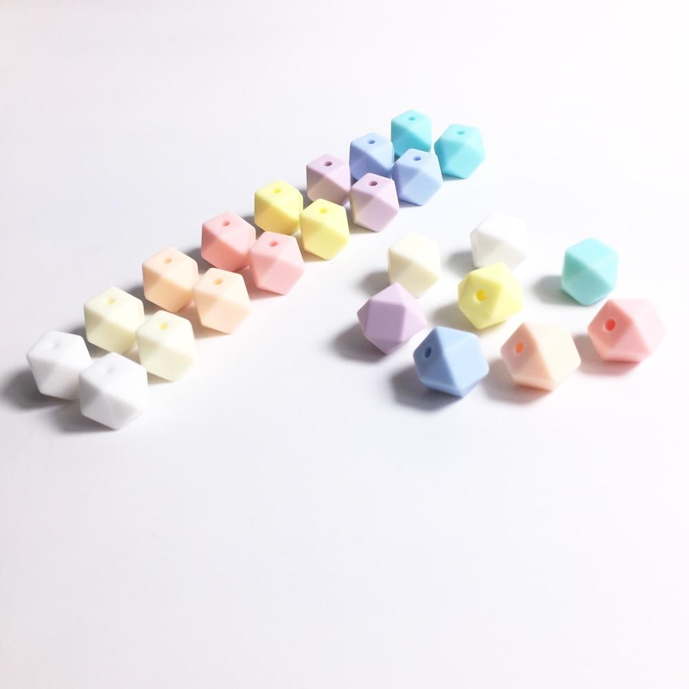 500 pzs MINI cuentas de silicona 11mm hexágono BPA libre de la dentición suelta masticar cuentas joyería collar mordedor juguete mordedor DIY mordedor