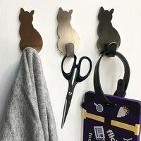 Crochets auto-adhesifs pour salle de bain  2 pieces  support de rangement a motif de chat pour cintre de cuisine  baton sur porte suspendue murale  porte-vetements  porte-serviettes