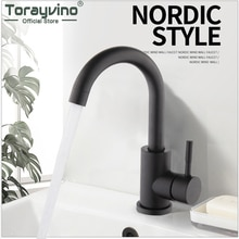 Torayvino Matte Black Modern Basin Sink Deck Mounted Bathroom Faucet Single Lever Handle Stainless Steel Hot And Cold Mixer Tap