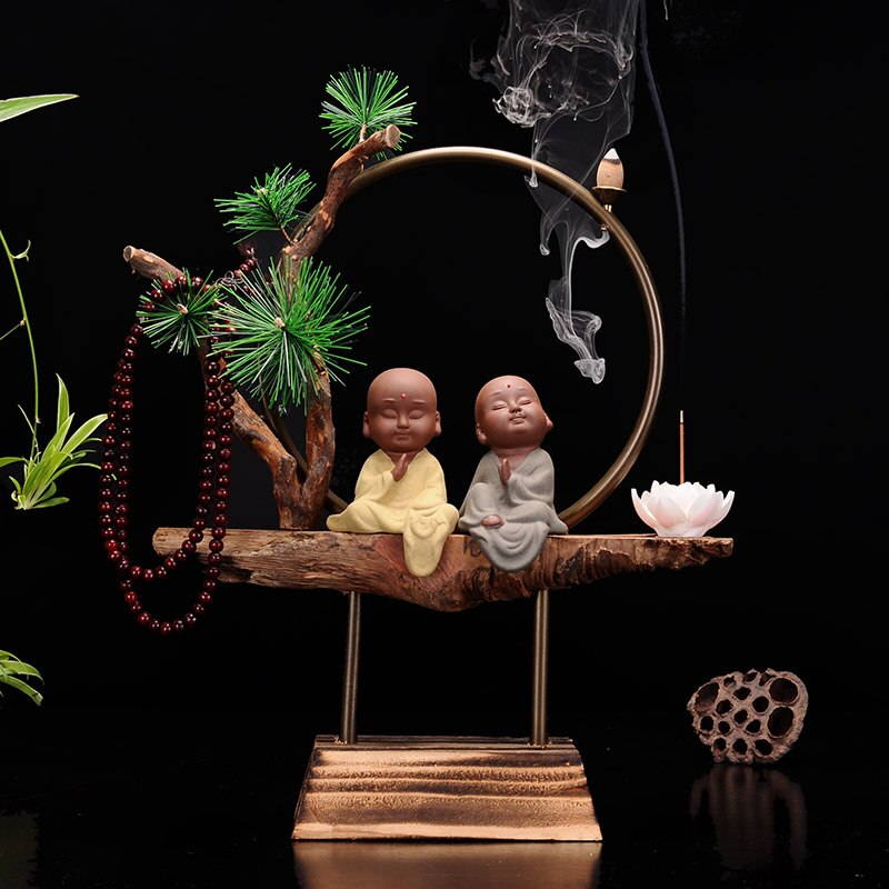 Incensario Buddha Zen, quemador de incienso chino, cascada de sándalo, cerámica, soporte de incienso, suministros budistas para el hogar DA60XX