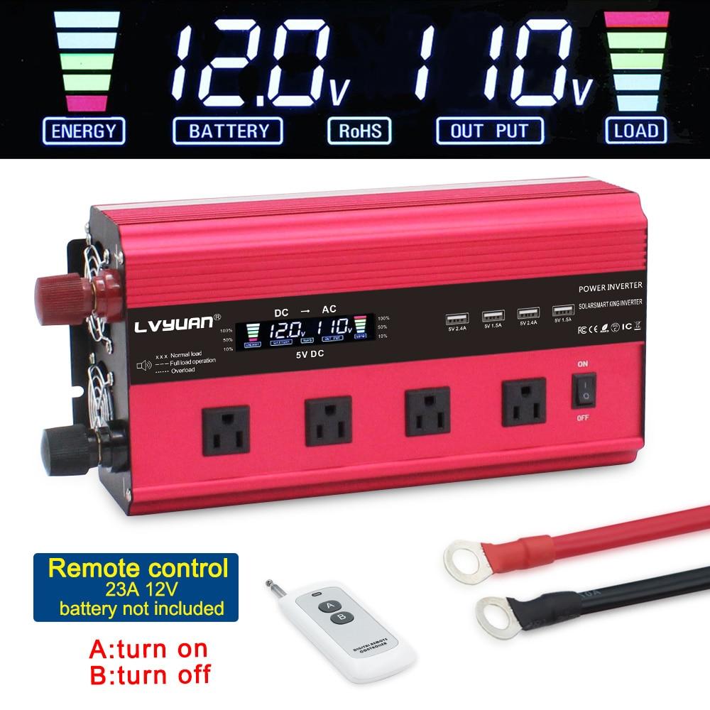 Pantalla LCD transformador adaptador, cargador y convertidor inversor de corriente 12000W DC 12 V/24 V a AC 220 V/110 V con 4Fan 4usb control remoto