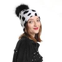 2020 new fashion cow print hat warm knitted winter real fur pompom hats for women girls black pom pom beanie cap
