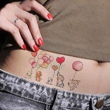 Tatuaje temporal a prueba de agua, pegatina de elefante, conejo, globo, tatuaje falso, brazo, muñeca, pie, mano para chica, hombres, mujeres y niños