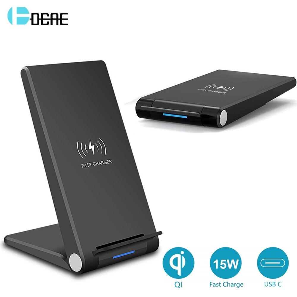 DCAE 15W cargador inalámbrico almohadilla de carga rápida soporte QI USB C QC 3,0 para iPhone 11 pro Max XS XR 8X8 Airpods Pro Samsung S20 S10 S9