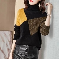 2021 autumn and winter new simple loose knitted fashion color matching foreign style fashion temperament turtle neck women