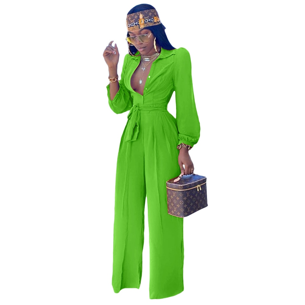 Buttons Up Office Lady Rompers Womens Jumpsuit Turn Down Collar Long Sleeve Wide Leg Overall Elegant Sashes Full Length Bodysuit