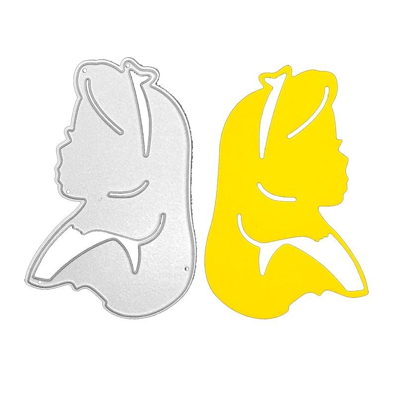 Cabezal de cuchillo para niña troquelado de metal troquelado tarjeta de felicitación Fondo cuchillo troquelado artesanal regalo y DIY plantilla en relieve para álbum de recortes