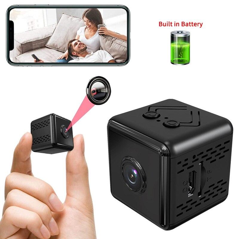 1080P كاميرا لا سلكية صغيرة 150 درجة زاوية كاميرا أمان لاسلكية مع الأشعة تحت الحمراء للرؤية الليلية الحركة هاتف محمول App كشف إنذار دفع