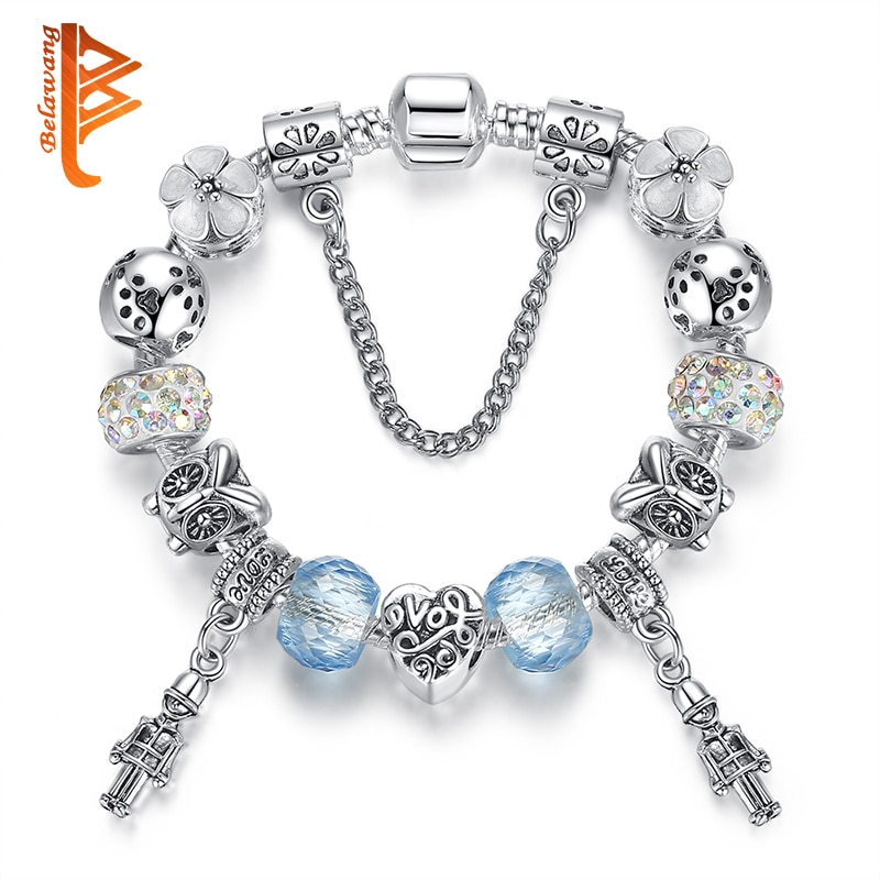 Fans Seckill Romantic Love DIY Charm Bracelet Blue Murano Glass Beads Crystal Bracelet for Women Jewelry Christmas Gift