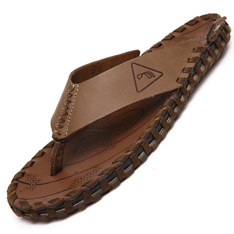 Tongs hommes été en cuir véritable hommes pantoufles anti-dérapant fendu orteil décontracté bout ouvert en caoutchouc semelle hommes chaussures plage
