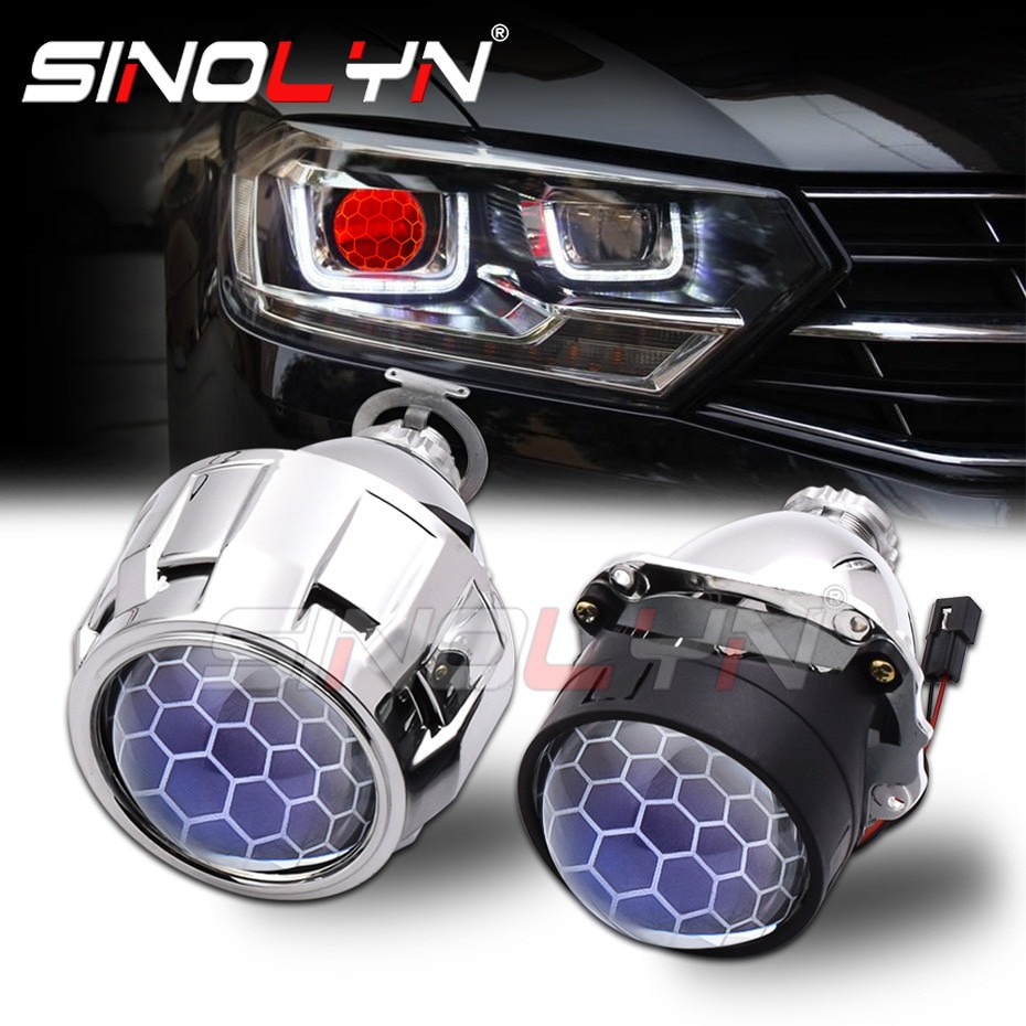 Sinolyn Headlight Lenses 2.5 Honeycomb Bixenon Lens HID Projector Devil Eyes Automobiles For H4 H7 C