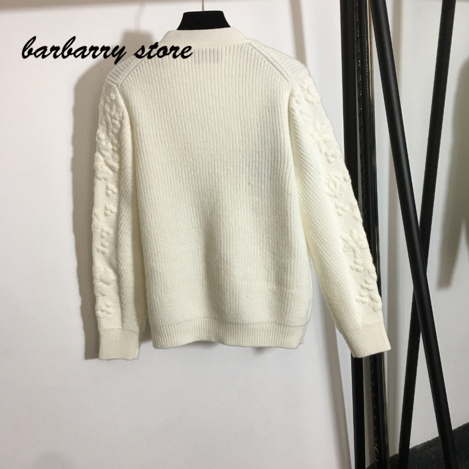 2021 luxury brand jacquard print fashion women's top temperament V-neck versatile loose single breasted long sleeved Pullover enlarge