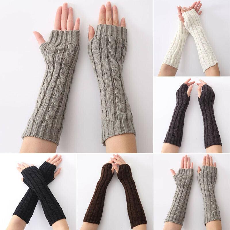 Women Winter Warm Wrist Arm Hand Warmer Knit Long Fingerless Elbow Gloves Mitten