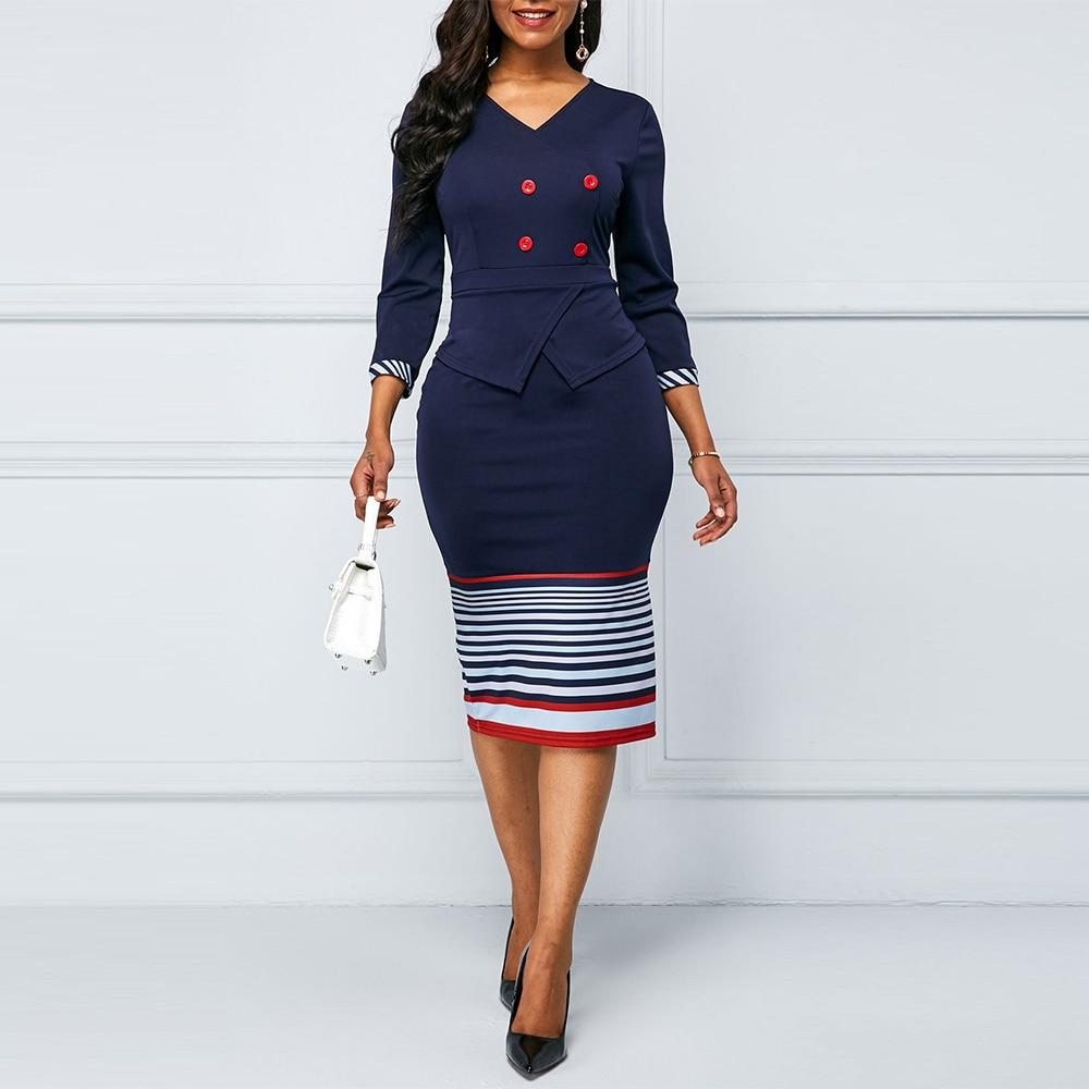 Vintage Sexy V-neck Split Bodycon Pencil Dresses Women Summer Autumn Casual Plus Size Elegant Slim Office Party Dress Vestidos