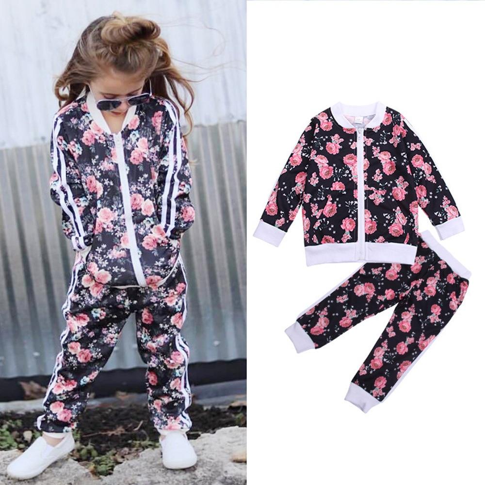 Ropa para niños 2019 nuevo estilo traje deportivo para niños de estilo coreano de manga larga de moda estampado niñas primavera y otoño ocio Sui