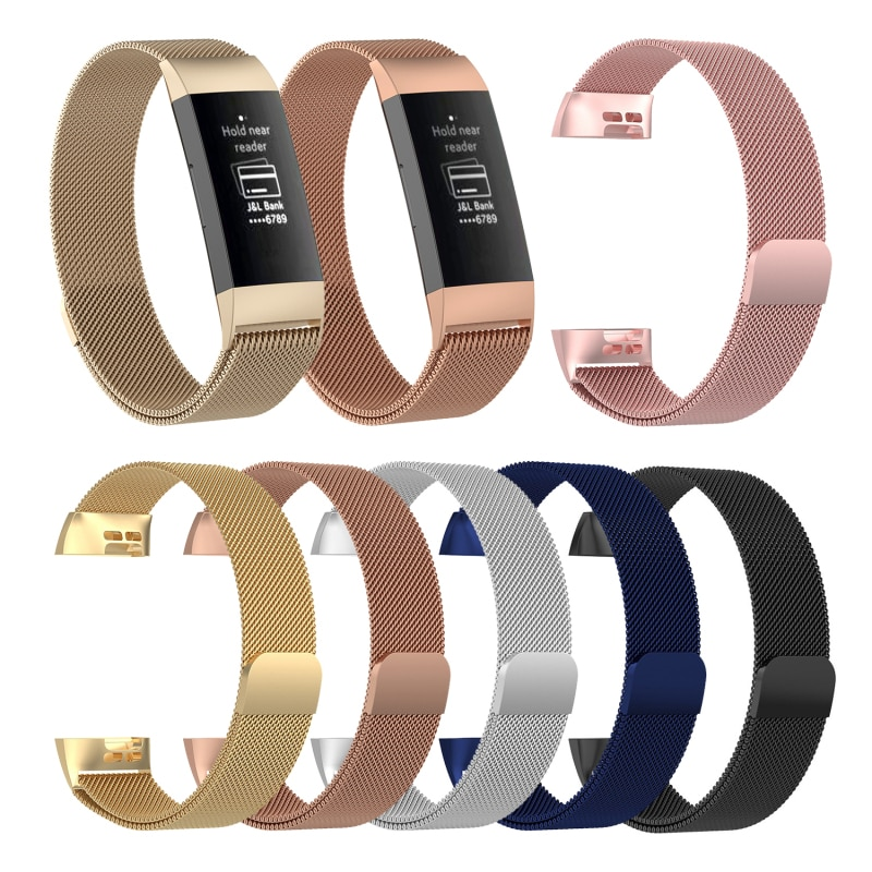 Reloj inteligente reemplazo de pulsera banda magnética de Metal inoxidable correas impermeables accesorios de pulsera para Fitbit Charge 3