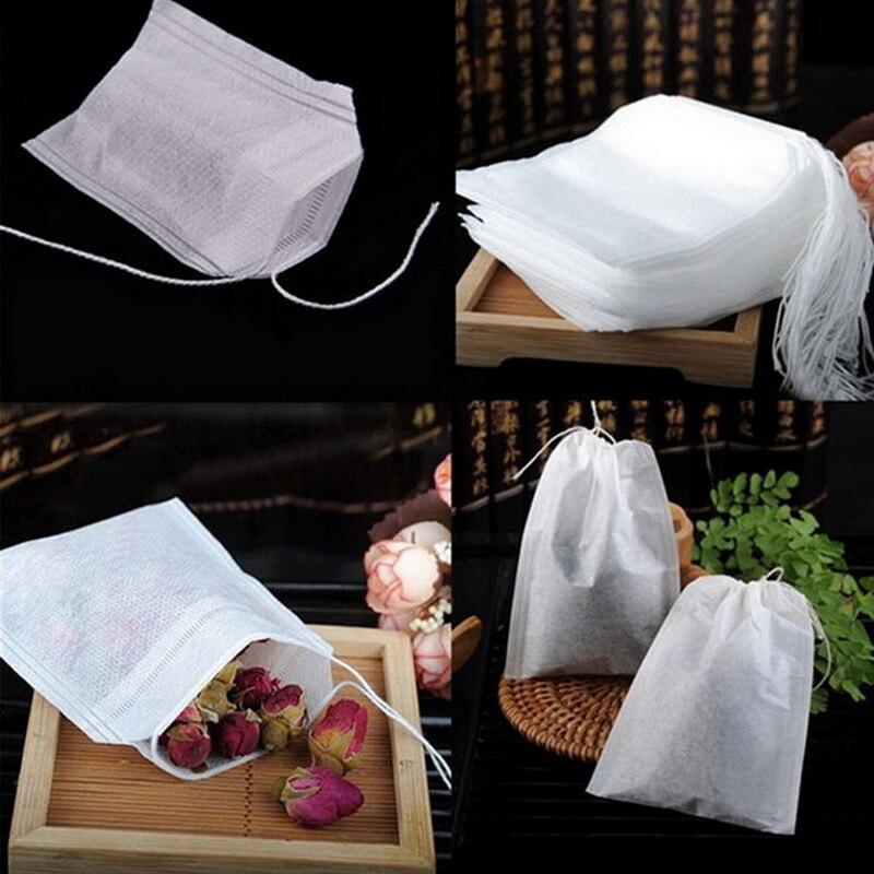 100 pçs/lote teabags 5.5x7cm vazio scented chá sacos com corda curar selo filtro de papel para erva solta chá bolsas de