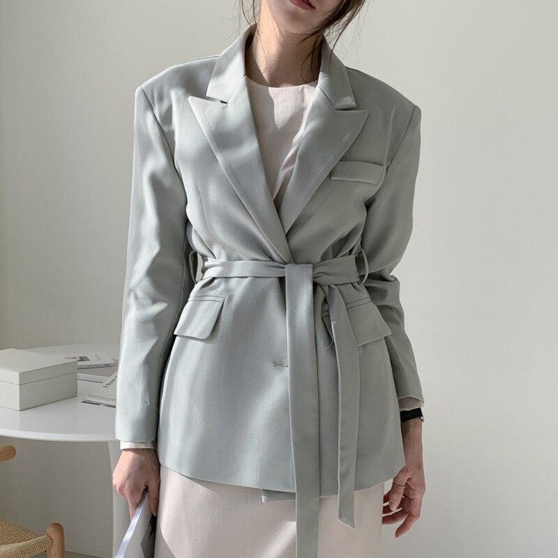 2020 nuevo otoño Blazers mujer abrigo coreano Ropa de Trabajo Formal Blazer ajustado elegante OL traje Collar chaqueta mujer ropa de abrigo con cinturón