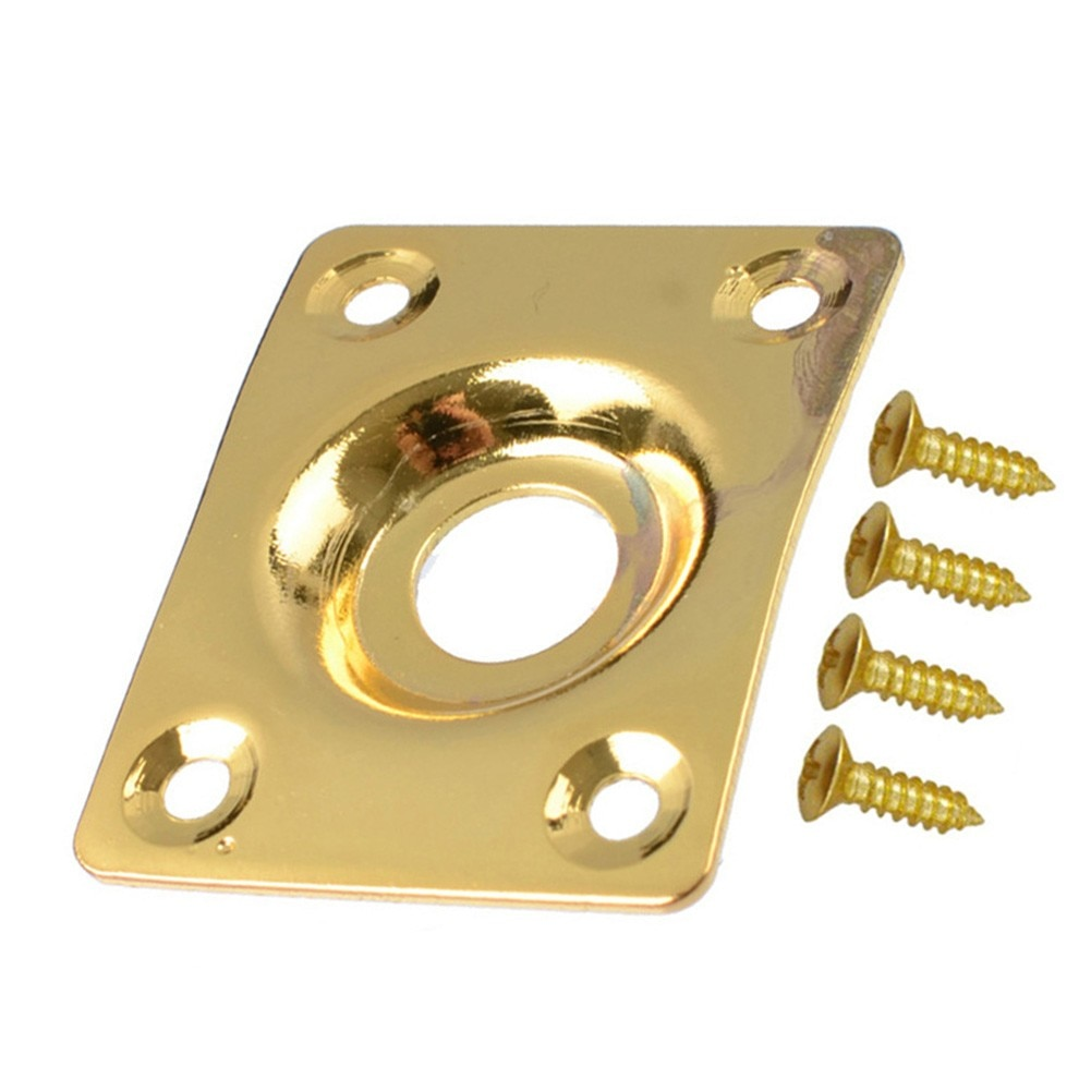 Rectangular Jack Plate With Screws For Les Paul Tele Style Electric Guitar Chrome Black Gold Instrumentos Guitar Accessories