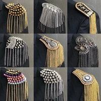 apparel one piece breastpin tassels shoulder board mark knot epaulet patch metal badges applique patch for clothing am 2555