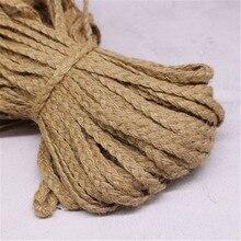 10m naturel chanvre corde plate tressé cordon Jute toile de Jute ruban rustique Vintage mariage bricolage cadeau emballage décor armure corde de chanvre