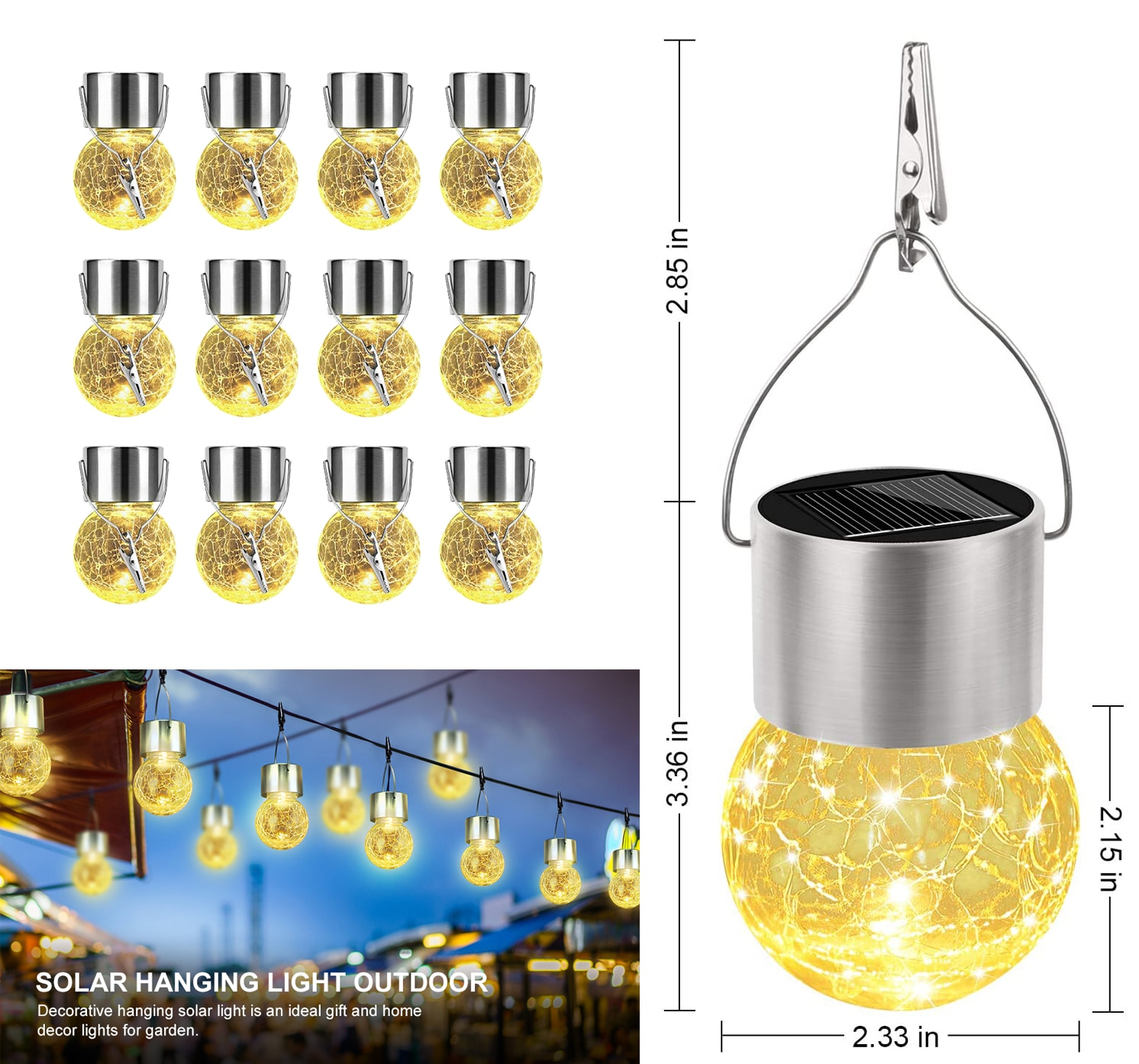 Outdoor Solar String Lights Cracked Glass LED Ball Lights Waterproof Hanging Light with Handle for Garden Yard Patio Decoration