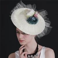 2021 fashion new bride wedding fedora hat lady church sinamay hats women elegant flower fascinator deby race headwear