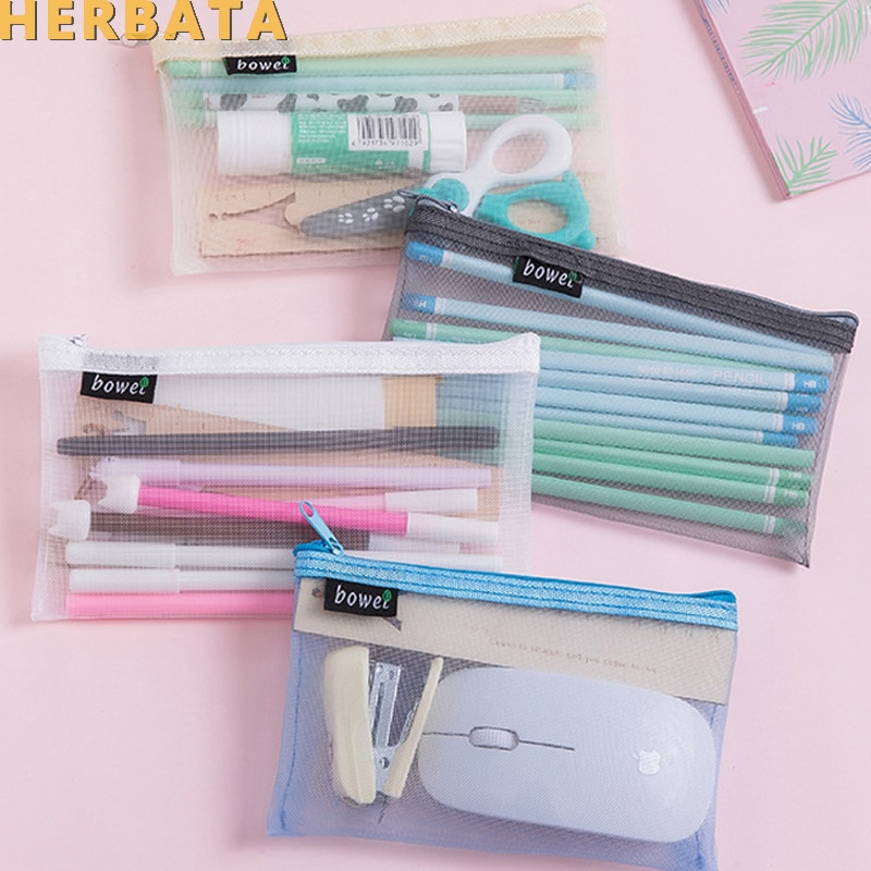 Estuche de lápices con cremallera portátil de gran capacidad de gasa transparente simple creativa, bolsa para estudiante de papelería, estuche para lápices, organizador de escritorio