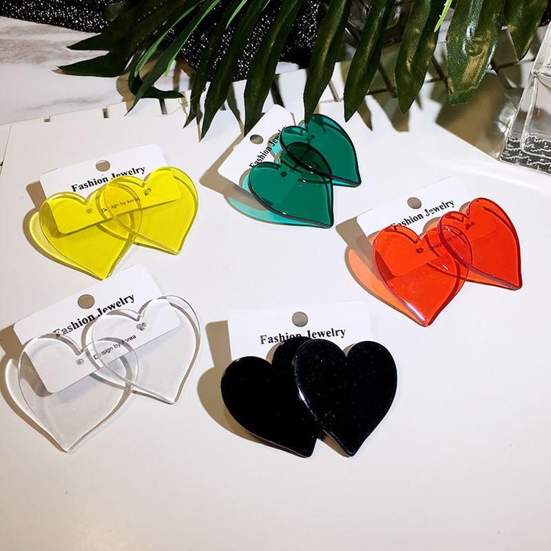 Simple Design Heart Geometric Earrings Female Transparent Acrylic Stud Earrings For Women Brincos Jewelry