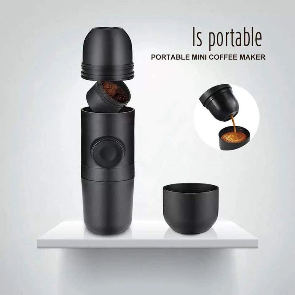 NANLINGWUREN ماكينة القهوة اليدوية الصغيرة ضغط اليد ماكينة إسبريسو في الهواء الطلق مرافقة صغيرة فنجان القهوة وعاء للمنزل القهوة