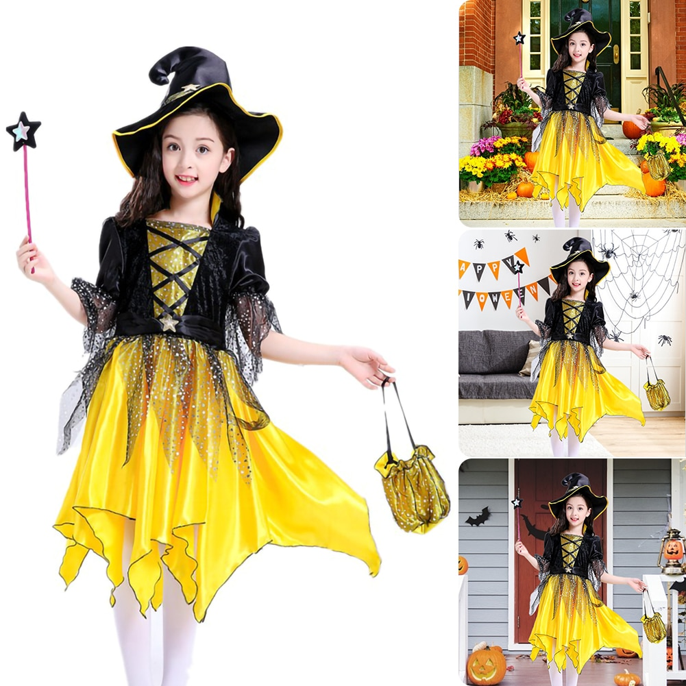 halloween children s costume cosplay girl horror vampire death ghost clothes little witch long sleeve costume girls prom dress 2021 New Children Girls Halloween Cosplay Witch Costume  Dress up Prom Dress Girl Elf Suit Skirt Halloween Party Costume Dresses