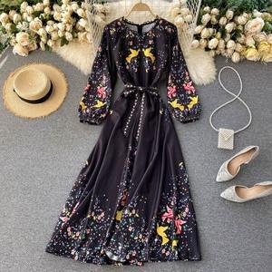 2020 Autumn Women New Fashion Elegant Slim Print O-Neck Puff Sleeve Long Printed Dress Vestido De Mujer  J40