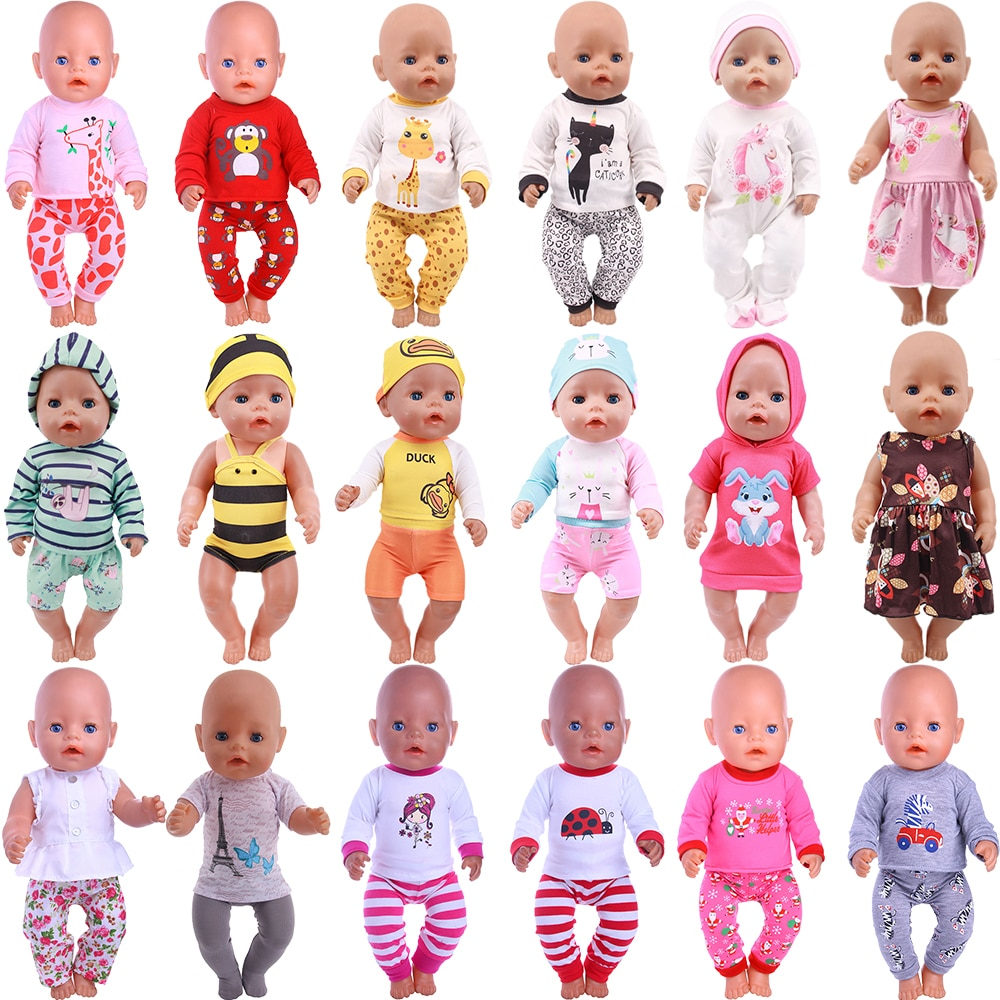Cute Pajamas Dress For 18 Inch American Doll Accessory Girl Toy 43 cm Born Baby Clothes Accessories Our Generation doll accessories cute pajamas nightgown clothes for 18 inch american girl boy doll our generation