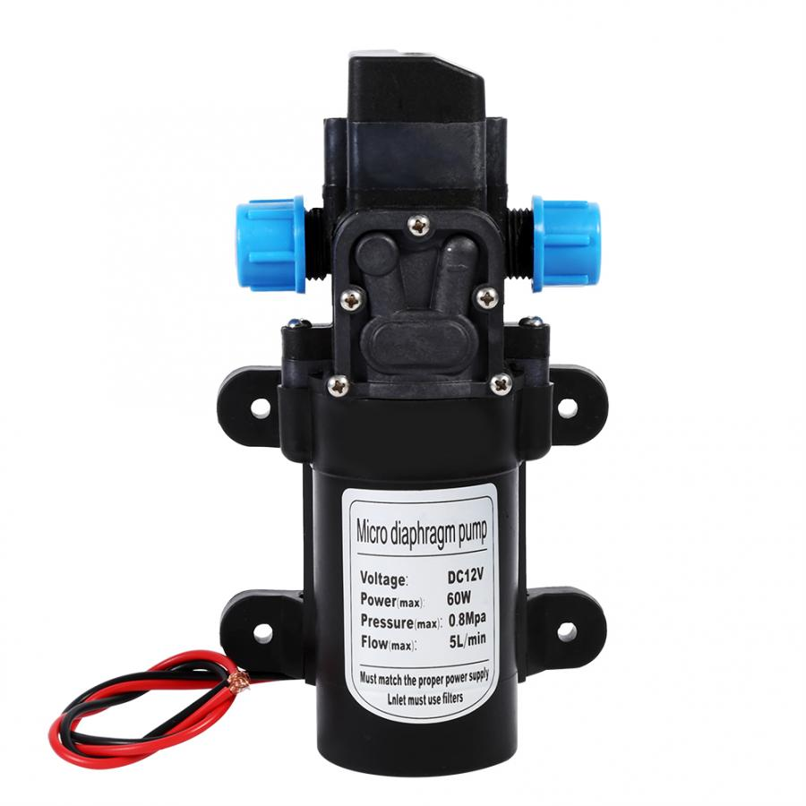 60W DC 12V High Pressure Water Pump 5L/min Self Priming Micro Diaphragm Pump Automatic Switch Car Vehicle Cleaning Pump 115PSI