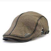 Mens Knitted Wool Beret Cap Winter Warm Hat For Male Duckbill Visor Flat Cap