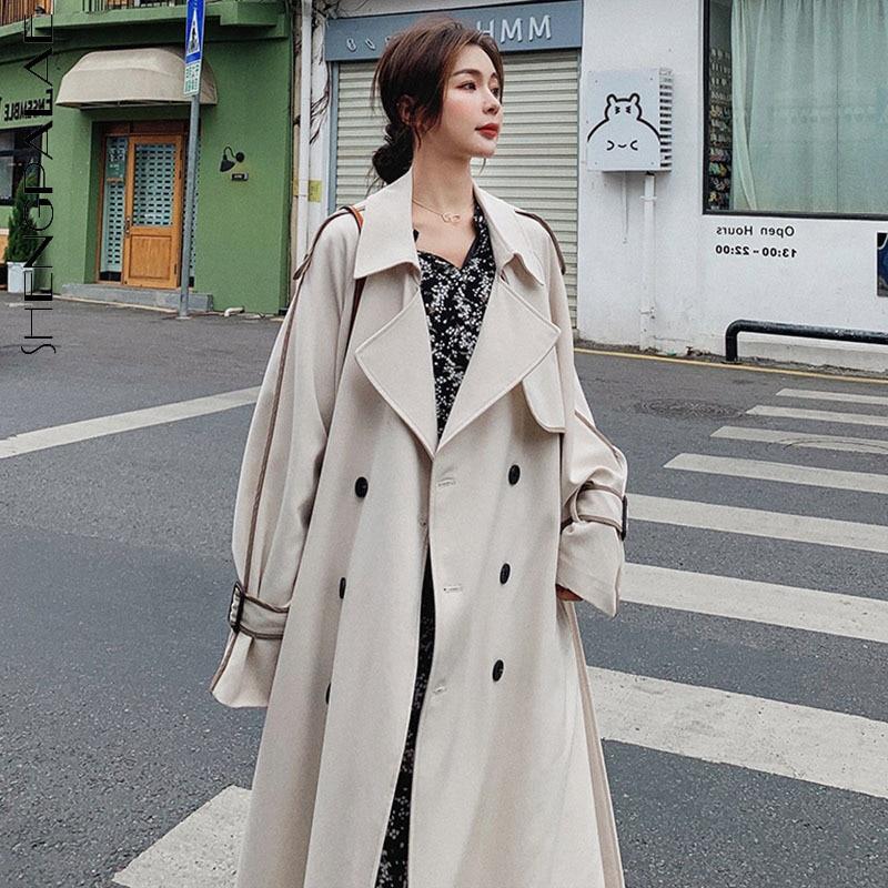SHENGPALAE بسيطة الصلبة اللون خندق معطف النساء 2021 Laple فضفاض مزدوجة الصدر الدانتيل يصل الخصر طويل كم سترة واقية الإناث