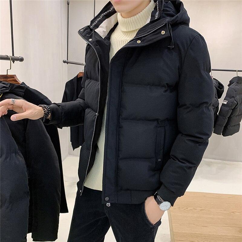 Новинка 2021, Корейская стеганая куртка, Мужская стеганая куртка с капюшоном, короткая модная зимняя куртка, Утепленная зимняя куртка
