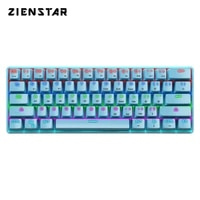 zienstar english dual mode wired and bluetooth usb c rechargeable rgb blue switch mechanical gaming keyboard with 61 keys