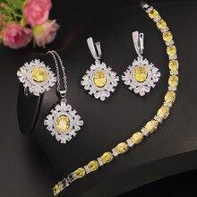 925 Sterling Silber Halskette Ohrringe Ring Anhänger Armbänder Für Frauen Gelb Topas Schmuck Sets