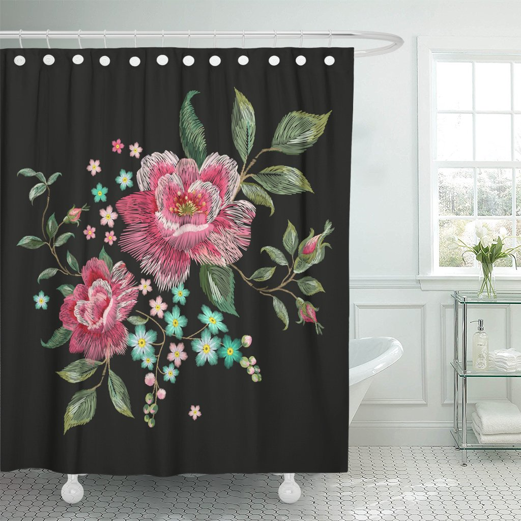 Cortina de ducha con diseño Floral Oriental Rosa tradicional bordado parche flores tela de poliéster impermeable 60x72 pulgadas