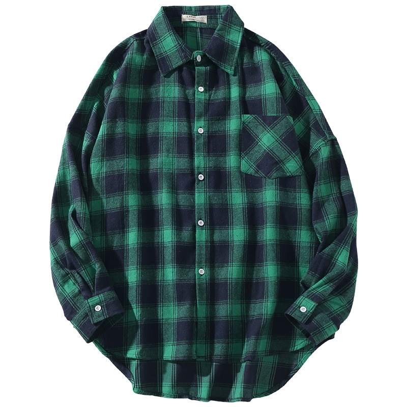 Spring Shirt for Men Clothing Casual Plaid Shirt Long Sleeve Loose Large Size Retro Classic Plaid Shirts for Men Shirt Big Size