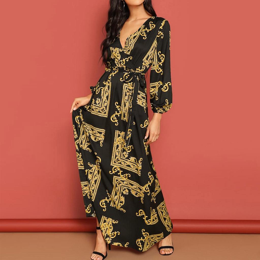 New 2020 Pretty Dresses Fashion Women V-neck Long Sleeve Dress Print Lantern Sleeve Wrap Dress Jurk Vestidos Drop #L30