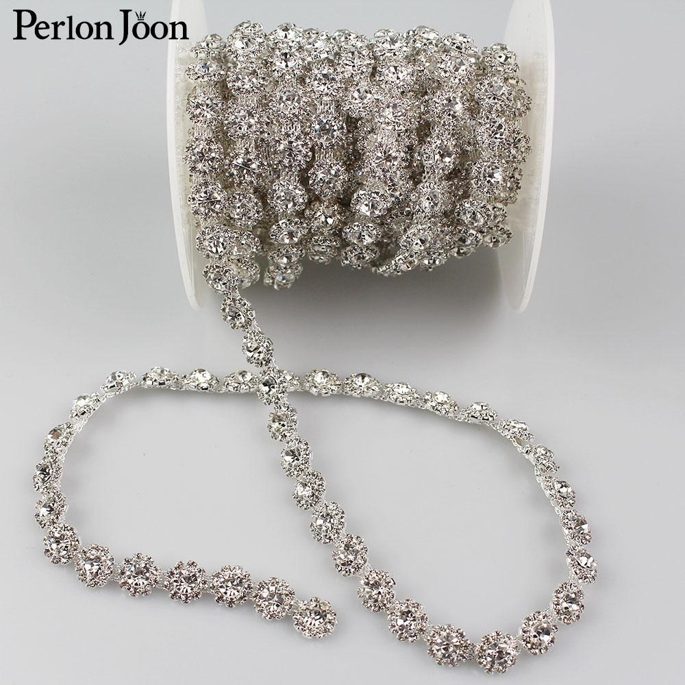 1yard Round dense crystal Blinking rhinestones trim metal chain Ribbon for dress, bag, shoes accessories ML030