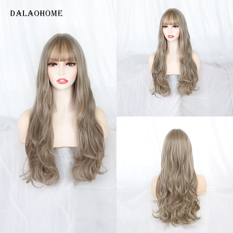 Dalaohome Long Ombre Synthetic Straight Woman Wig With Bangs Lolita Natural Heat Resistant Wigs Hairs Party Wavy layered Hair