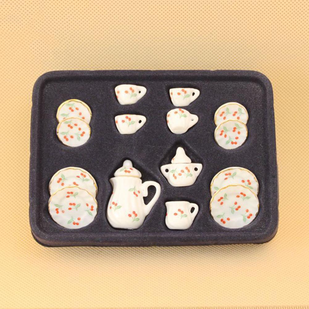 15 unids/set casa de muñecas miniatura cerámica Floral tetera taza platos vajilla juguete nuevo