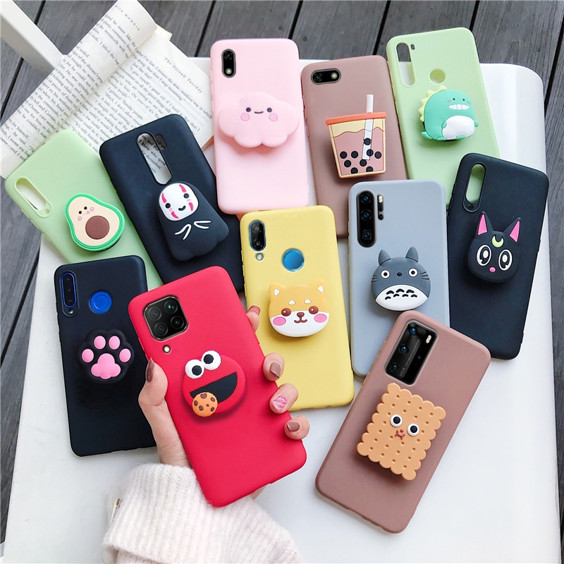 3D silicone cartoon phone holder case for huawei p40 pro p30 p20 lite pro p8 p9 p10 lite plus 2017 2