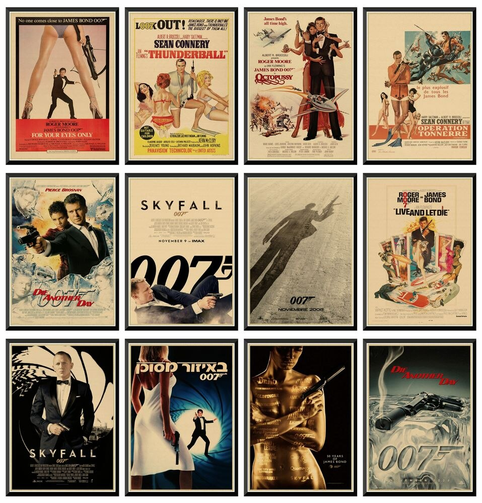 007 James Bond Agente Connery Daniel Craig classic action film kraft paper bar poster Retro Poster decorative painting 42X30cm