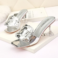 2021 Patent Leather big diamond slippers women gold/silver summer pumps sandals shoes glass high hee