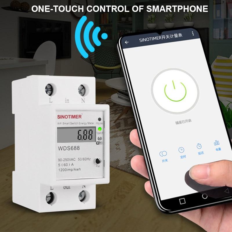 Medidor esperto 5-60a 230 v tn88 da energia do consumo elétrico do wifi/app-controle inteligente multifunction do medidor de energia monofásico