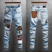 AMIRI pants trendy brand high street Amiri light blue embroidered patch stretch slim fit jeans with